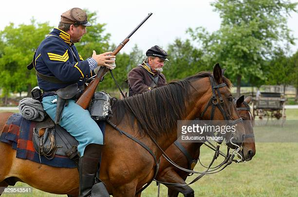 Union Cavalry Sergeant mounted on horse in Battle of Bull Run reenactment