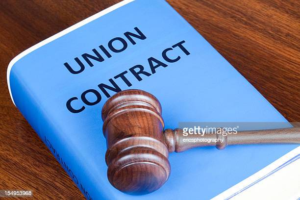 union contract and judge's gavel - trade union stock pictures, royalty-free photos & images