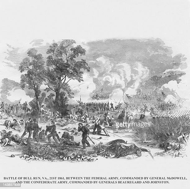 Union Defeat at the First Battle of Bull Run or Manassas Junction Manassas Virginia July 21 1861 From an issue of Frank Leslie's Illustrated Almanac