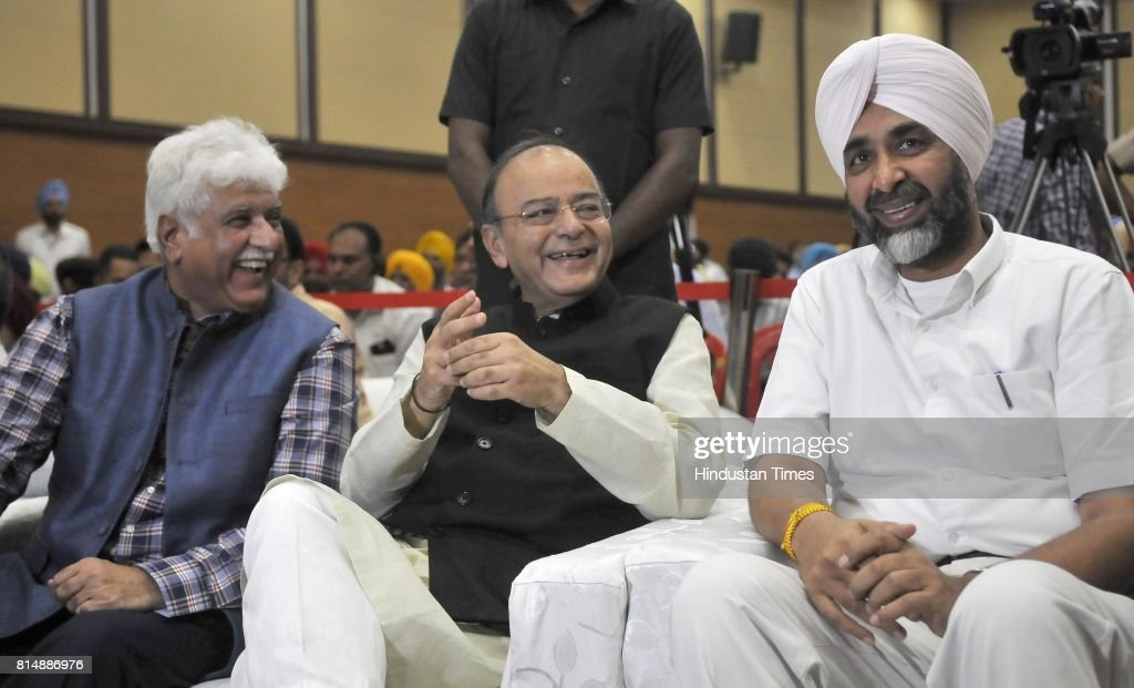 Union Defence and Finance Minister Arun Jaitley with Rakesh Bharti Mittal and Manpreet Singh Badal Finance Minister of Punjab during a function...