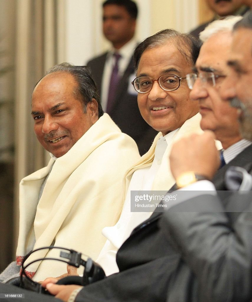 Union defence minister AK Antony and Finance Minister P Chidambaram during signing of agreements in the presence of French President Francois Hollande and Prime Minister Manmohan Singh at Hyderabad House on February 14, 2013 in New Delhi, India.