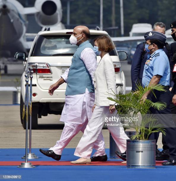 Union Defence Minister Rajnath Singh and Minister of Armed Forces of France Florence Parly arrive for the Rafale induction ceremony, at IAF airbase...