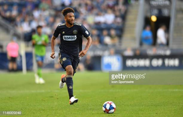 Union Defender Auston Trusty chases down the ball in the first half during the game between the Seattle Sounders and Philadelphia Union on May 18...