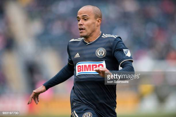 Union Defender Fabinho runs to get in position to defend in the first half during the game between the Columbus Crew and Philadelphia Union on March...