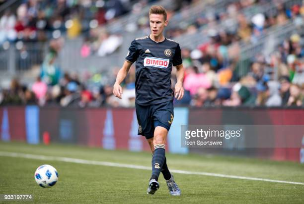 Union Defender Jack Elliot makes a pass in the first half during the game between the Columbus Crew and Philadelphia Union on March 17 2018 at Talen...