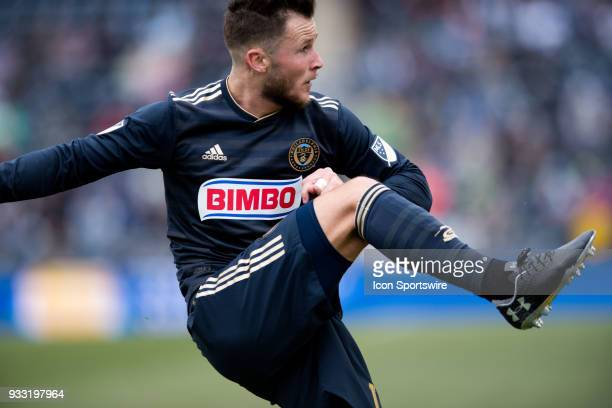 Union Defender Keegan Rosenberry clears a ball in the first half during the game between the Columbus Crew and Philadelphia Union on March 17 2018 at...