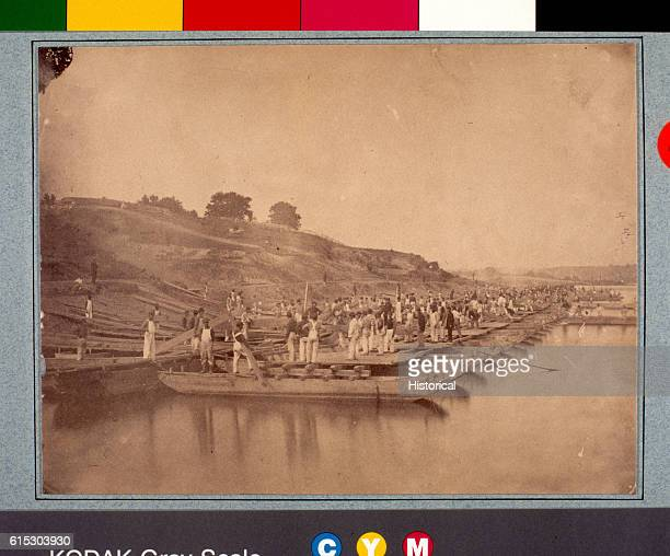 Union engineers are timed as they build a pontoon bridge near Washington DC during the American Civil War | Location Near Washington DC USA