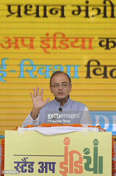 Union Finance Arun Jailtley addresses the gathering during the launch of 'Stand Up India' by Prime Minister Narendra Modi on the birth anniversary of...