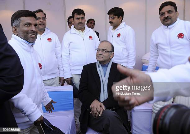 Union Finance Minister and chief guest Arun Jaitley sits in the journalists pavilion during a cricket match between journalists and Parliamentarians...