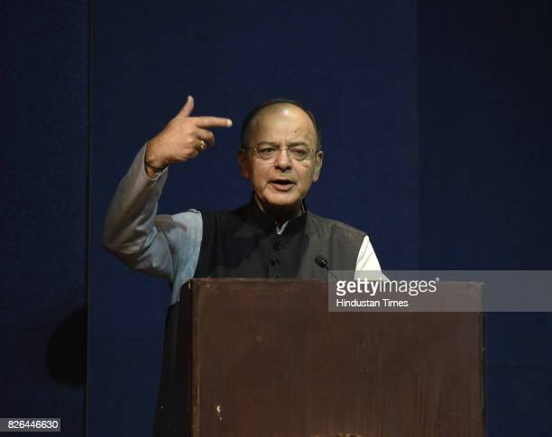 Union Finance Minister Arun Jaitley address the people after Former Prime Minister Dr Manmohan Singh launched a book India Transformed 25 years...