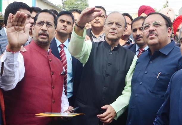 Union Finance Minister Arun Jaitley along with Rajya Sabha member Shwait Malik and Former Punjab Local Bodies Minister Anil Joshi at Radha Krishna...