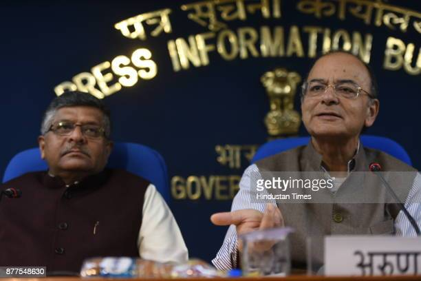 Union Finance Minister Arun Jaitley and Minister of Law and Justice Ravi Shankar Prasad during cabinet briefing at PIB on November 22 2017 in New...