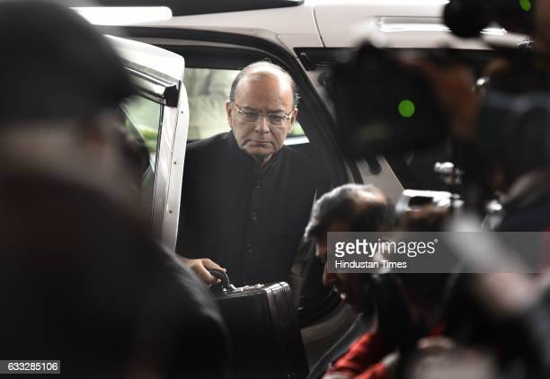 Union Finance Minister Arun Jaitley arrives in Parliament House to present the General Budget 2017 during the Parliament Budget Session on February 1...