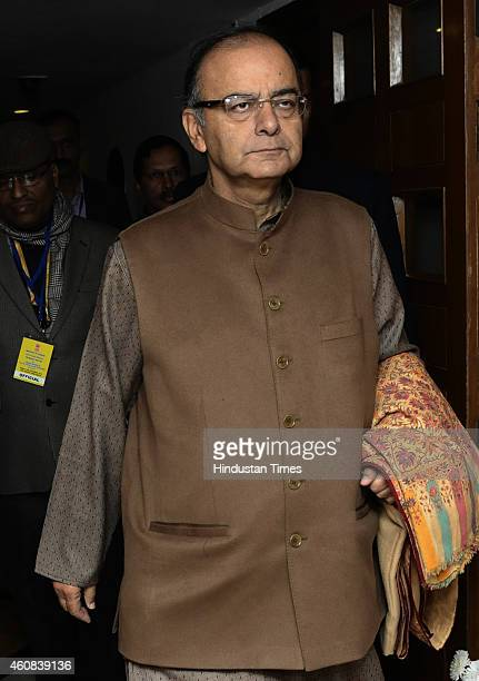 Union Finance Minister Arun Jaitley arrives to attend the Pre Budget meeting with the State Finance Ministers at Hotel Ashok on December 26 2014 in...