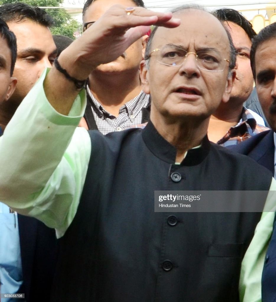 Union Finance Minister Arun Jaitley at Radha Krishna temple to oversee its construction work which is being done by Dushehra committee Amritsar North.