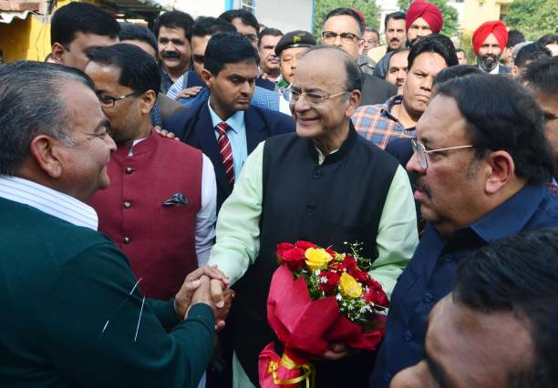 Union Finance Minister Arun Jaitley being welcomed by members of Dushehra committee Amritsar North with Rajya Sabha member Shwait Malik at Radha...
