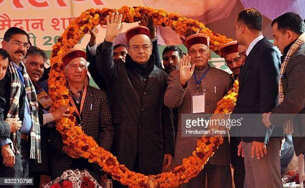 Union Finance Minister Arun Jaitley being welcomed during the Tridev Sammelan at Chambi Ground Shahpur on January 20 2017 near Dharamsala India...