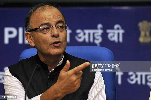 Union Finance Minister Arun Jaitley during a PostBudget press conference at National Media Centre on February 28 2015 in New Delhi India During a...