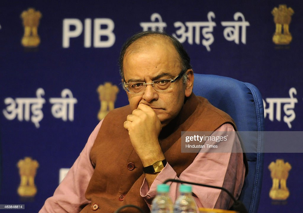 Union Finance Minister Arun Jaitley during the launch of Central Services on eBiz Portal at National Media Centre on February 19, 2015 in New Delhi, India. eBiz portal is a government to business portal on which 11 central government services are available for the ease of doing business in the country by providing one-stop clearance platform for investment proposals.