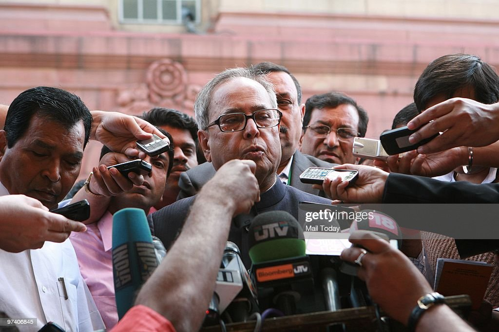 Union Finance Minister Pranab Mukherjee speaks to the media after presenting the Annual Budget 2010-2011, in New Delhi on February 26, 2010.