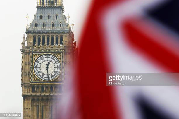 Union Flag, also known as Union Jack, flies in front of Elizabeth Tower, commonly referred to as Big Ben, in London, U.K., on Wednesday, Jan. 25,...