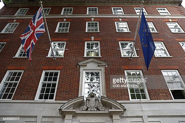 A Union flag and a European Union flag fly above Europe House the head office of the UK Representation of the European Commission and the UK...