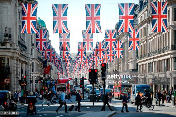 Union flag decorations are seen in Regent Street London on May 11 2018 ahead of the Royal Wedding of Prince Harry and US actress Meghan Markle...