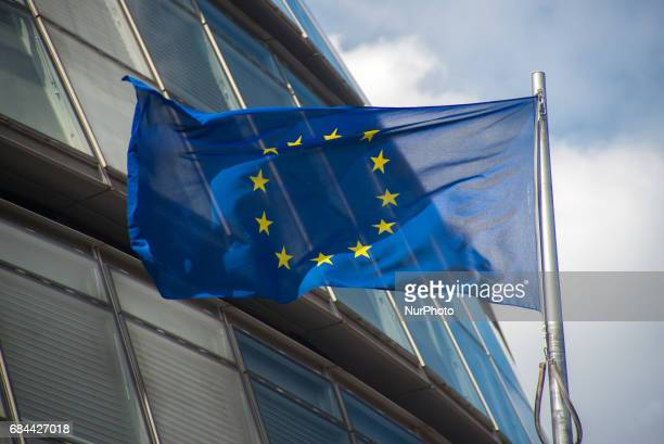 Union Flag EU flag and 'London Is Open' flags are pictured while flying outside the Town Hall London on May 18 2017 #LondonIsOpen is a major campaign...