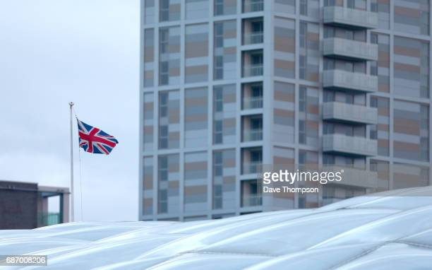 Union Flag flies above Victoria Railway Station close to the Manchester Arena on May 23 2017 in Manchester England An explosion occurred at...