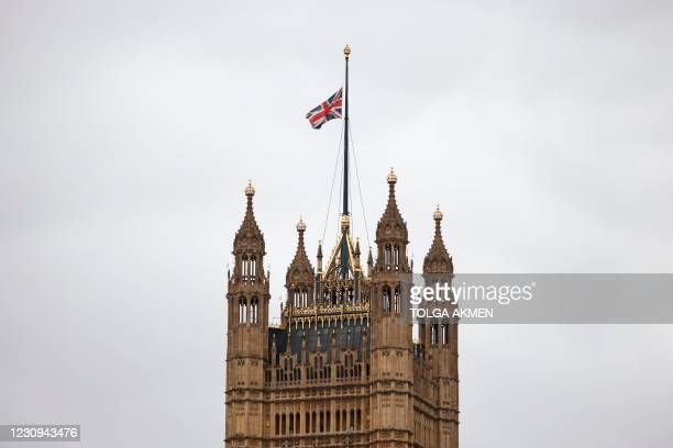 Union Flag flies at half mast from the top of Victoria Tower at the Palace of Westminster, home of the Houses of Parliament, in central London on...