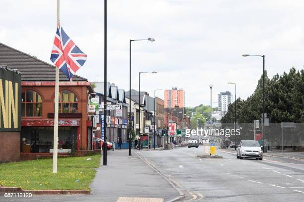 Union Flag flies at halfmast in the quiet streets on May 23 2017 in Manchester England An explosion occurred at Manchester Arena as concert goers...