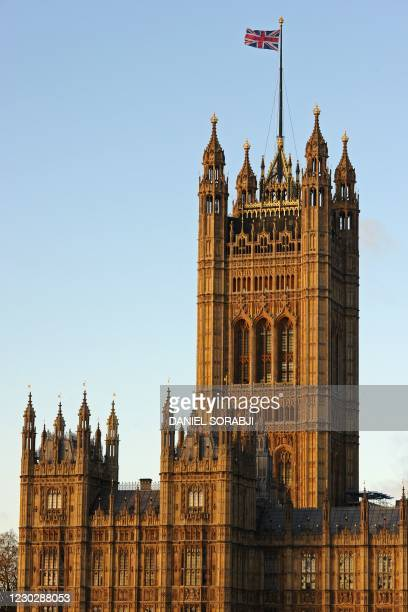 Union flag flies on top of the Victoria Tower, part of The Palace of Westminster in London on December 24 as Britain and the EU wait for a final...