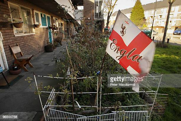 Union flag flutters on fencing surrounding a small growing plot on the Fenwick housing estate in Clapham on February 9 2010 in London England As the...