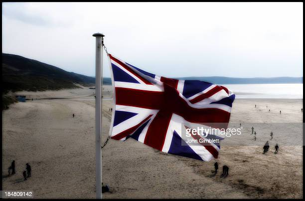 Union flag flying near the beach at Woolacombe Bay North Devon