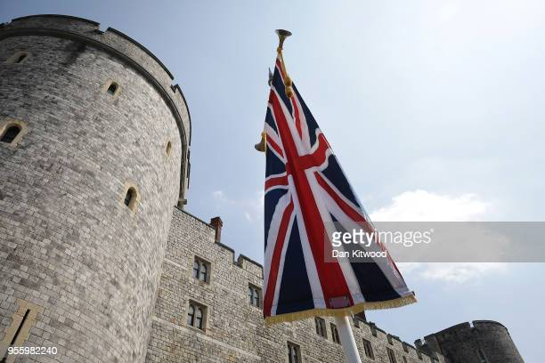 Union flag hangs in Windsor as the town prepares for the wedding of Prince Harry and his fiance US actress Meghan Markle May 8 2018 in Windsor...