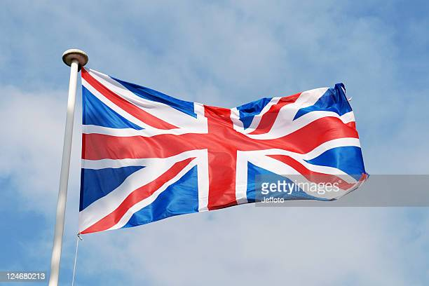 union flag of united kingdom in red white and blue - british flag stock pictures, royalty-free photos & images