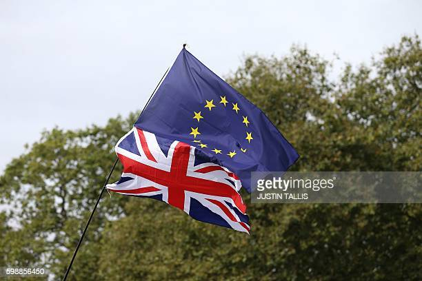A Union flag topped with an EU flag is pictured ahead of a March for Europe protest against the Brexit vote in London on September 3 2016 Thousands...