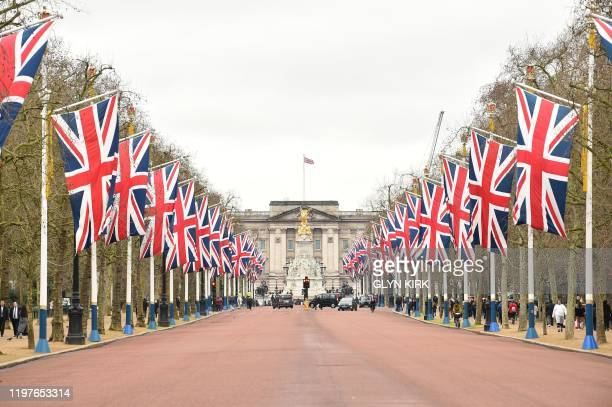Union Flags line the Mall leading to Buckingham Palace in central London on January 31, 2020 on the day that the UK formally leaves the European...