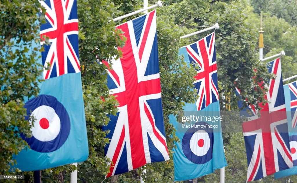 Union flags & RAF flags seen flying along The Mall ahead of a flypast to mark the centenary of the Royal Air Force on July 10, 2018 in London, England. The 100th birthday of the RAF, which was founded on on 1 April 1918, was marked with a centenary parade with the presentation of a new Queen's Colour and flypast of 100 aircraft over Buckingham Palace.