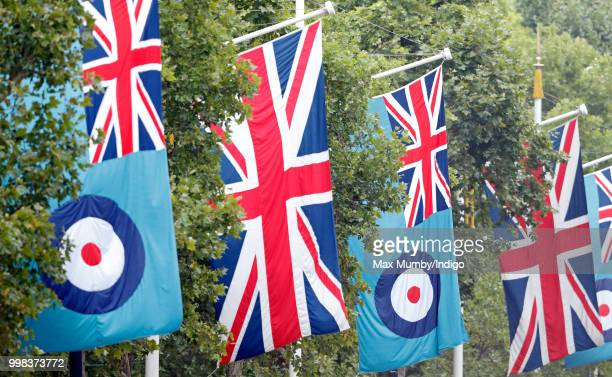Union flags RAF flags seen flying along The Mall ahead of a flypast to mark the centenary of the Royal Air Force on July 10 2018 in London England...