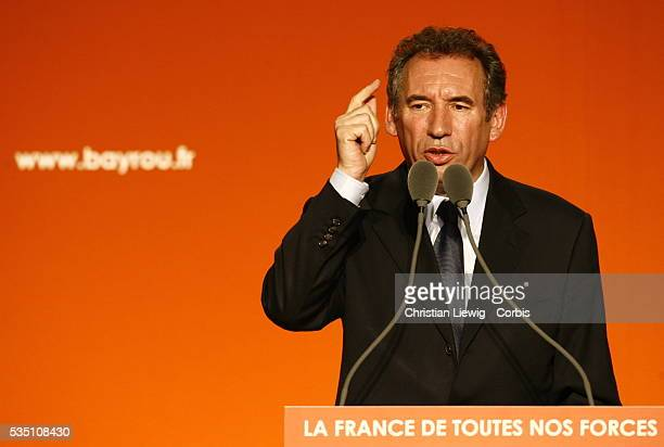Union for French Democracy leader and presidential candidate Francois Bayrou delivers a speech at a campaign rally in Angers