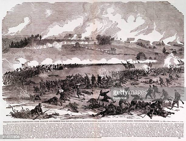 Union forces under Generals Winfield Scott Hancock and William Henry French charge Confederate positions on Marye's Heights during the Siege of...
