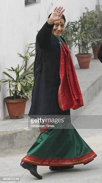 Union Foreign Minister Sushma Swaraj arrives for the BJP Parliamentary Board meeting at BJP Headquarter on December 24 2014 in New Delhi India BJP...