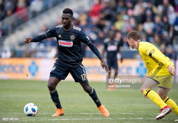 Union Forward CJ Sapong corrals the ball in front of the net in the second half during the game between the Columbus Crew and Philadelphia Union on...