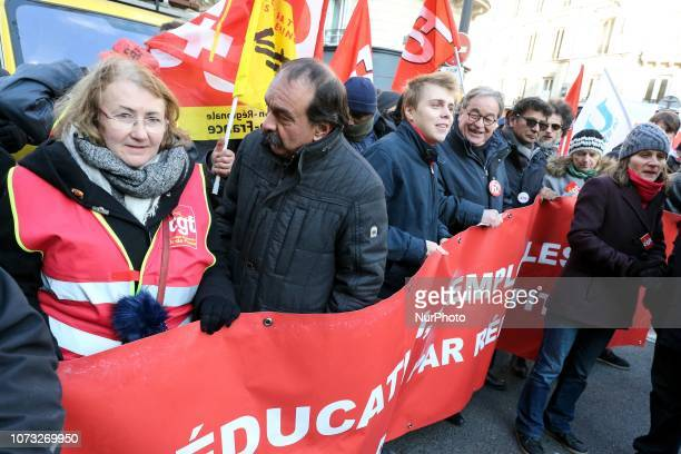 CGT Union general secretary Philippe Martinez and President of High school union Louis Boyard take part in a demonstration to call for politcal...