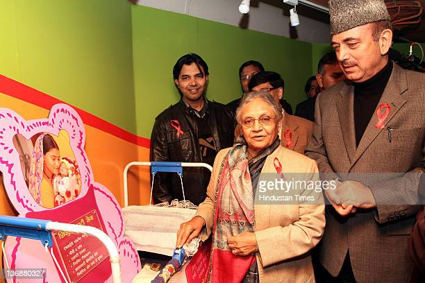 Union Health Minister Ghulam Nabi Azad and Chief Minister of Delhi Sheila Dixit view displays inside the Red Ribbon Express train before flagging it...