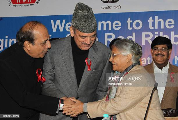 Union Health Minister Ghulam Nabi Azad Union Railway Minister Dinesh Trivedi and Chief Minister of Delhi Sheila Dixit attend the flag off ceremony of...