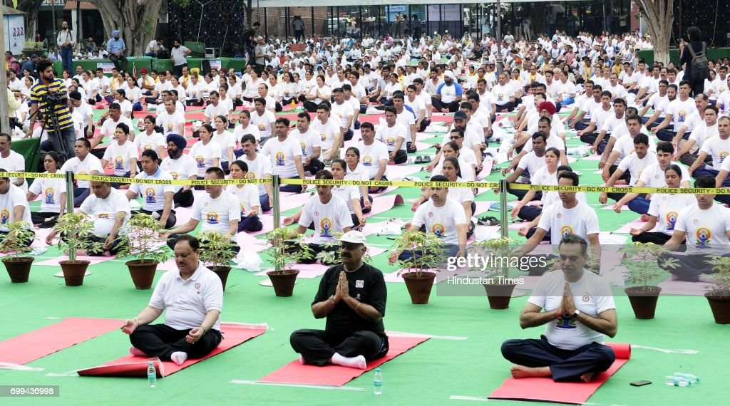 Union Health Minister JP Nadda Punjab Governor VP Singh Badnore and BJP Chandigarh President Sanjay Tandon during the 3rd International Day of Yoga...