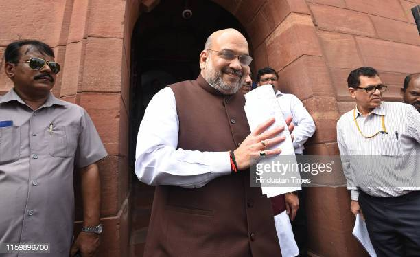 Union Home Minister Amit Shah arrives at Parliamenton August 5 2019 in New Delhi India In a major announcement on Jammu and Kashmir Union Home...