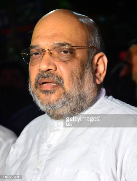 Union Home Minister Amit Shah arrives to pay his last respects to former Union Finance Minister Arun Jaitley on August 25 2019 in New Delhi India